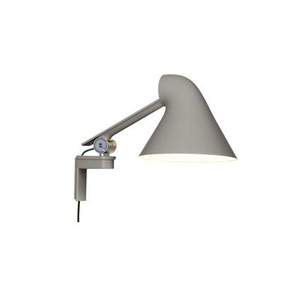 NJP Væglampe m/kort arm lys alu grå