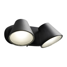 CUP 2 WALL LAMP 2X4W LED 230V BLACK Væglampe - LIGHT-POINT