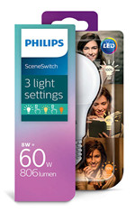 Pære LED 2-5-8W Sceneswitch (80/320/806lm) E27 - Philips