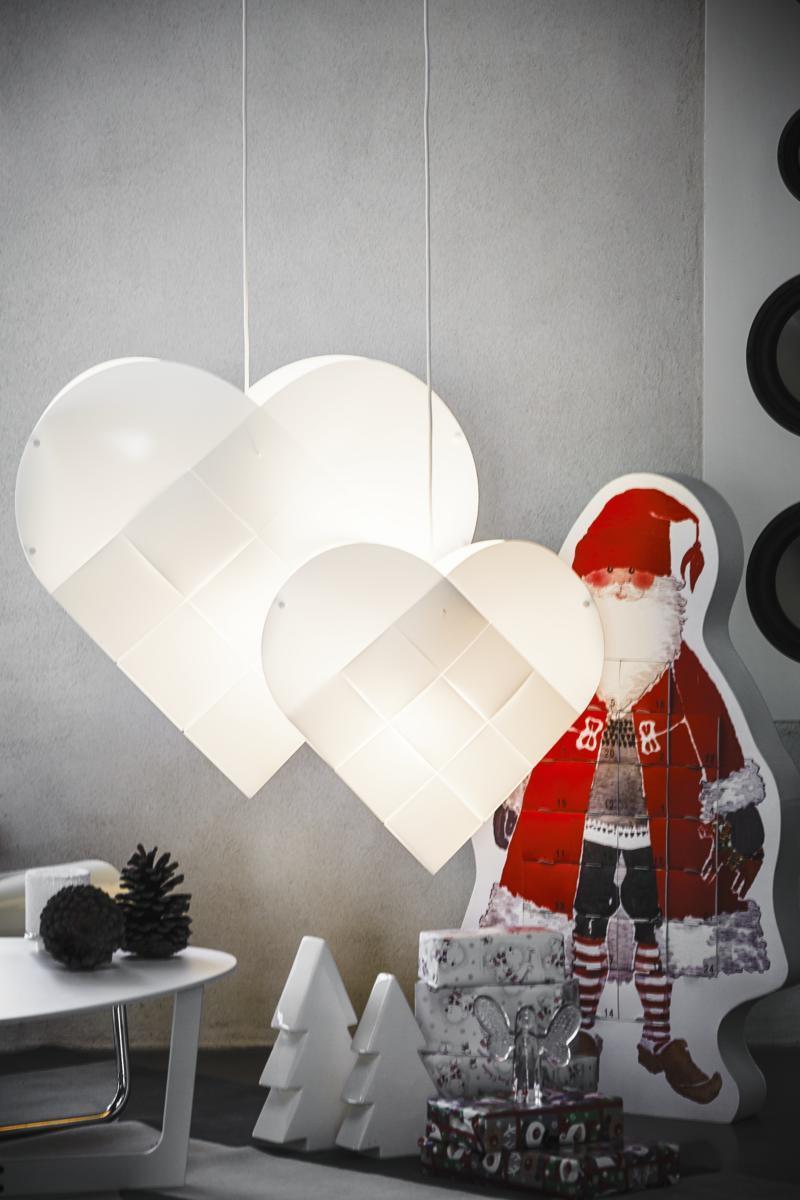 flettet julehjerte med lys