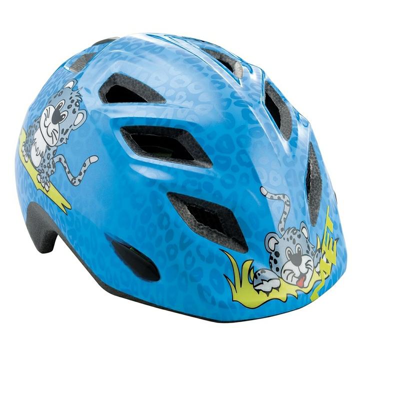 Moderne Elfo/Genio cykelhjelm til børn i blå/gepard fra Met XG-05