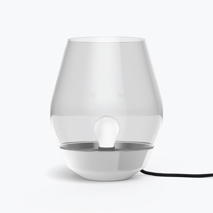 New Works Bowl bordlampe i stål og light smoked glas