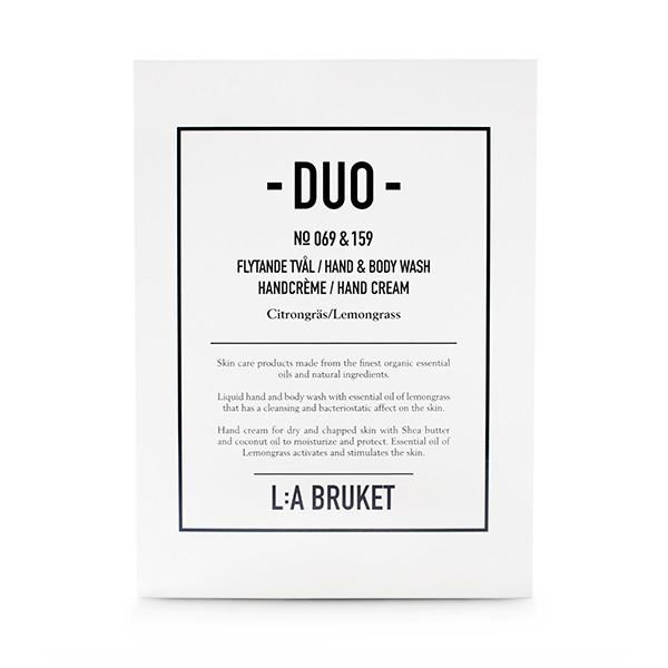 L:A Bruket Duokit gaveæske Håndsæbe & Håndcreme, Lemongrass