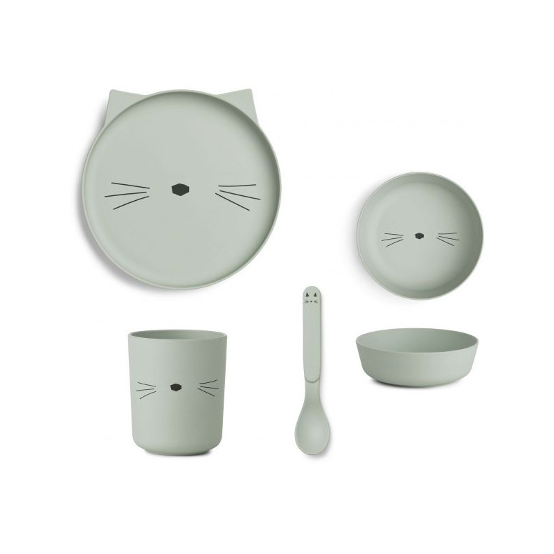 Liewood Bamboo Tableware Box Set - Cat dusty mint