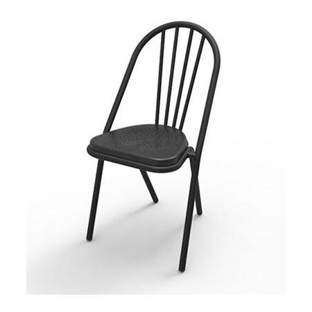Surpil SL10 stol, sortmalet træsæde