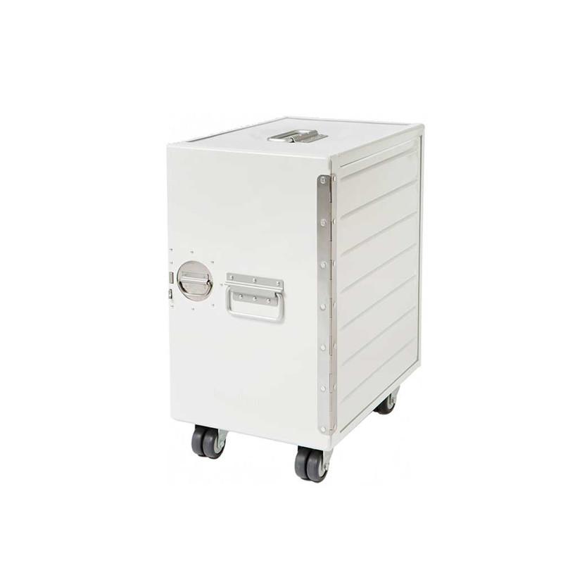 Bordbar kontor box skab m/ toppude i læder