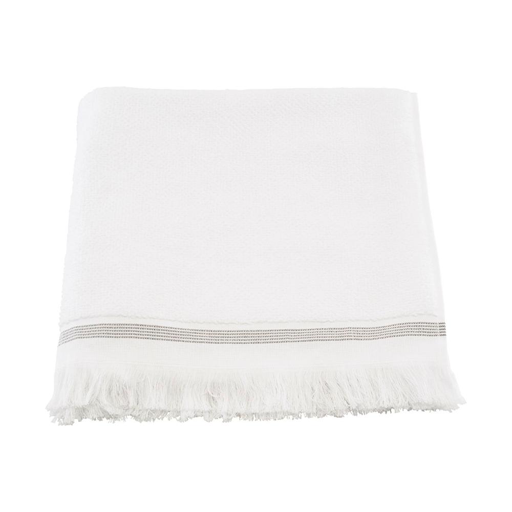 Meraki håndklæde m/ grå striber - 70x140