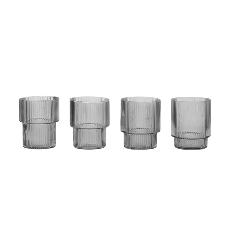 Ferm Living Ripple Glas, 4 Stk. i Smoked Grey