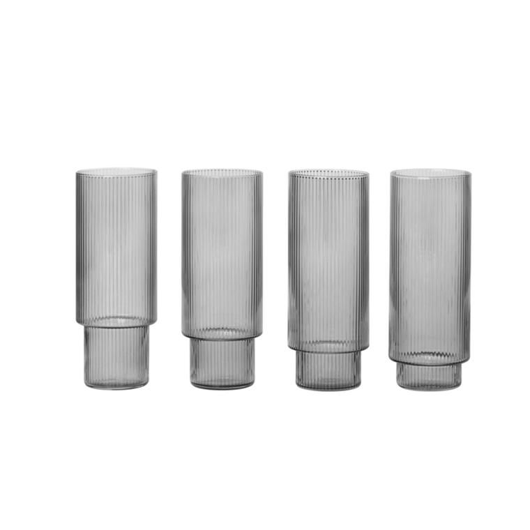 Ferm Living Ripple Long Drink glas, 4 Stk. i Smoked Grey