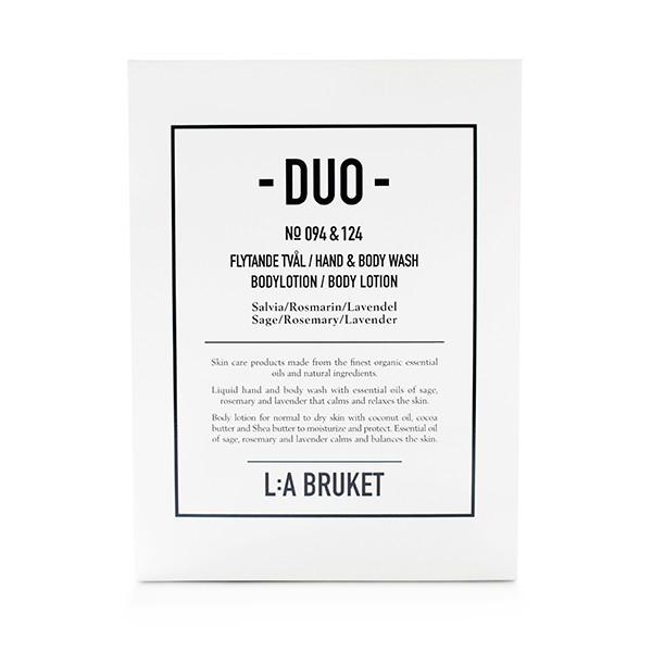 L:A Bruket Duokit gaveæske Håndsæbe & Bodylotion, Rosmarin/Lavendel