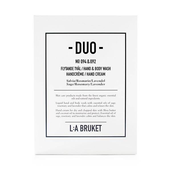 L:A Bruket Duokit gaveæske Håndsæbe & Håndcreme, Rosmarin/Lavendel