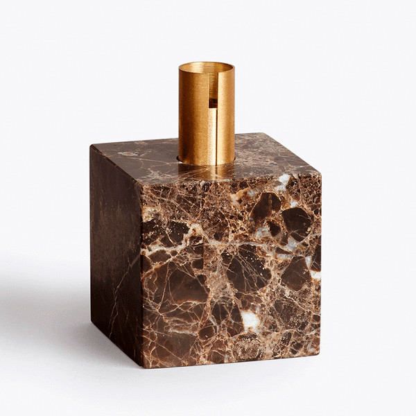 New Works Block Candle holder lysestage i mørkebrun