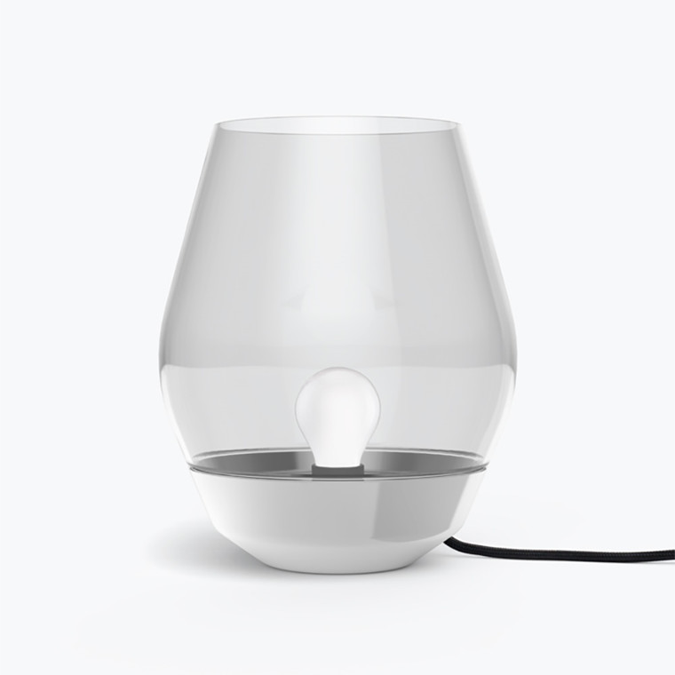 New Works Bowl bordlampe i stål og light smoked glas