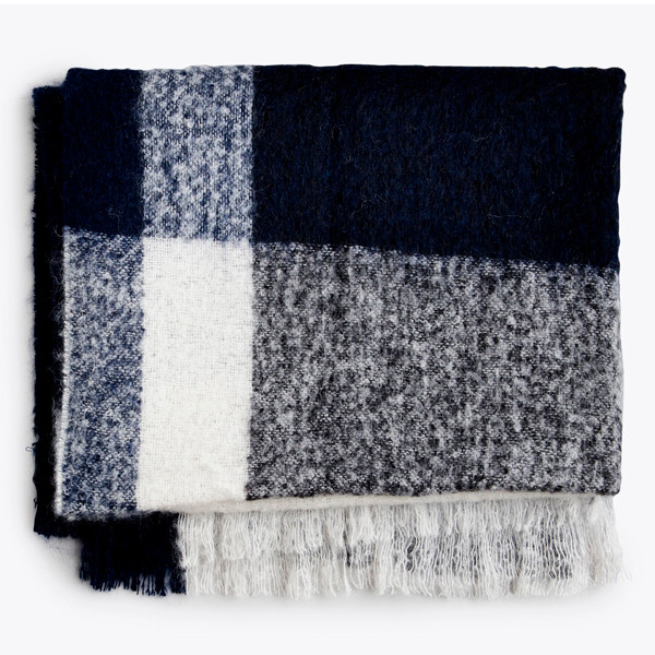 New Works Check Throw Plaid, Marineblå