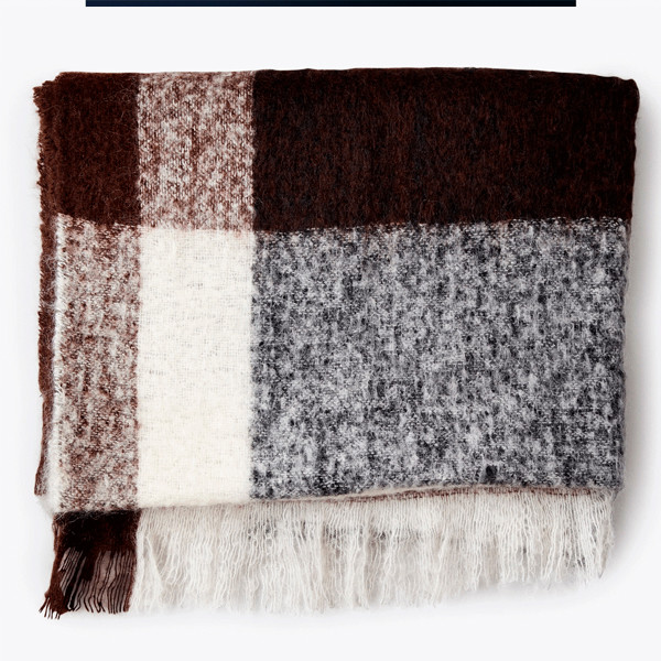 New Works Check Throw Plaid, Brun