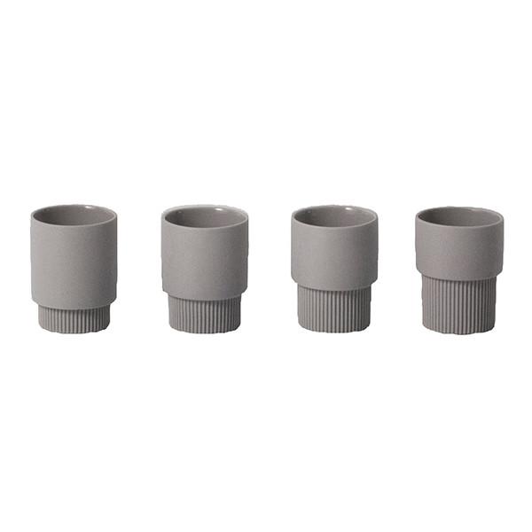 Ferm Living Groove Cups, Grå 4 Stk.
