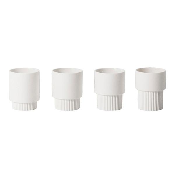Ferm Living Groove Cups, Hvid 4 Stk.