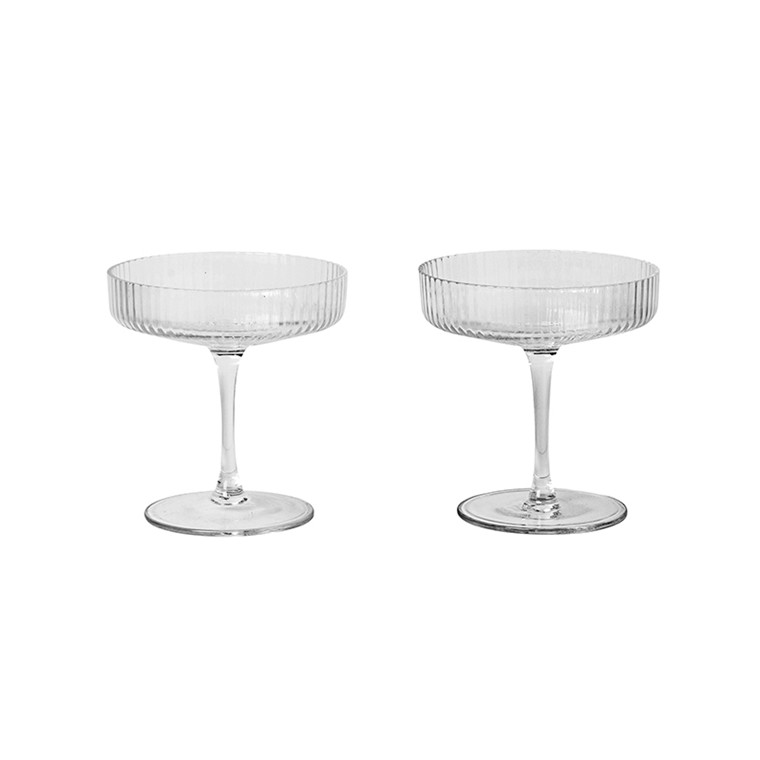 Ferm Living Ripple Champagne glass, 2-pack