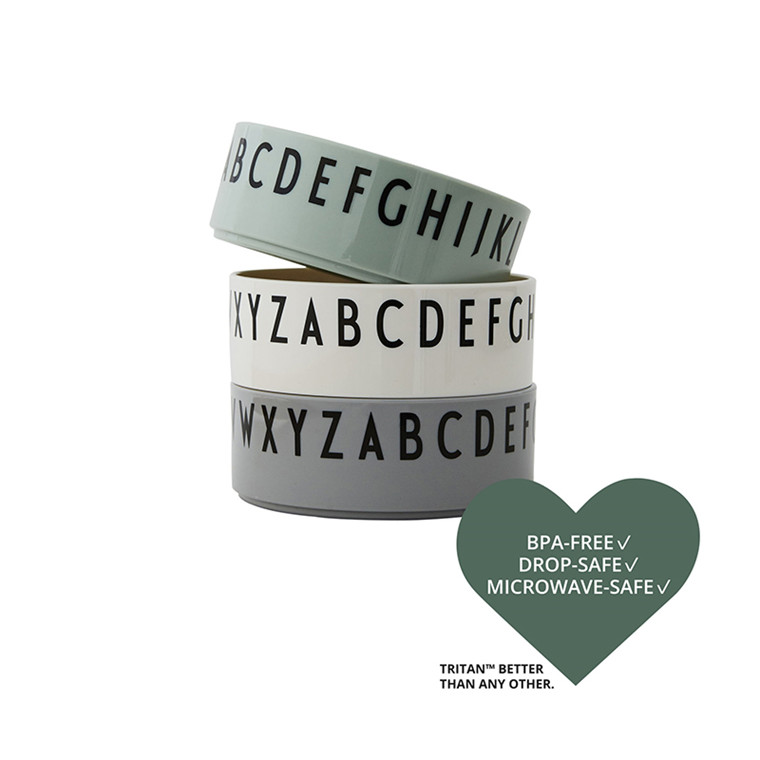 Design Letters Skål 3-pak, Green m. Bogstaver