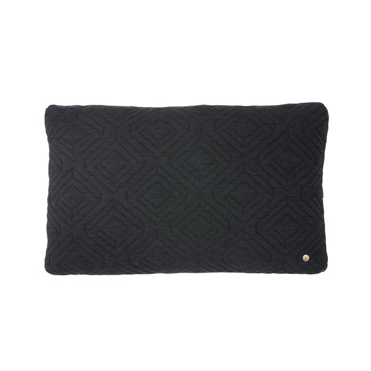 Ferm Living Quilt Pude 40x25 cm, Mørkegrå