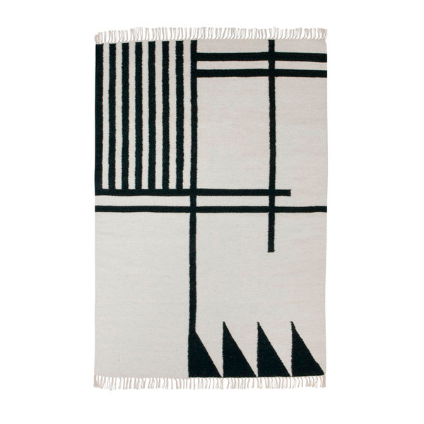 Ferm Living Kelim Rug Black Lines, Large