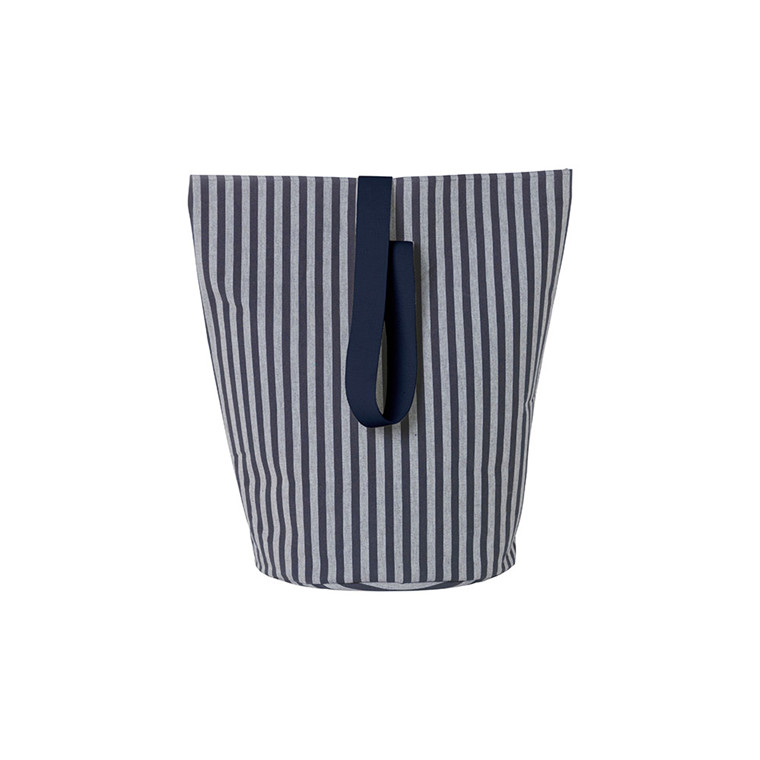 Ferm Living Chambray vasketøjskurv i stribet blå, str. large
