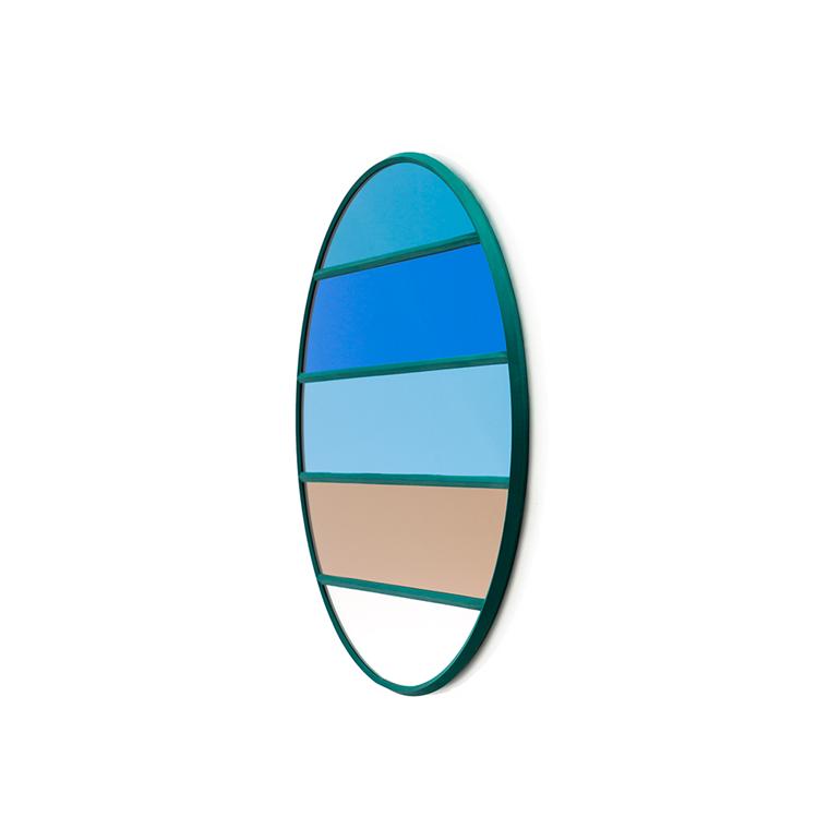 Magis Wall Mirror Vitrail 2, spejl i blå/beige striber - Ø50 cm