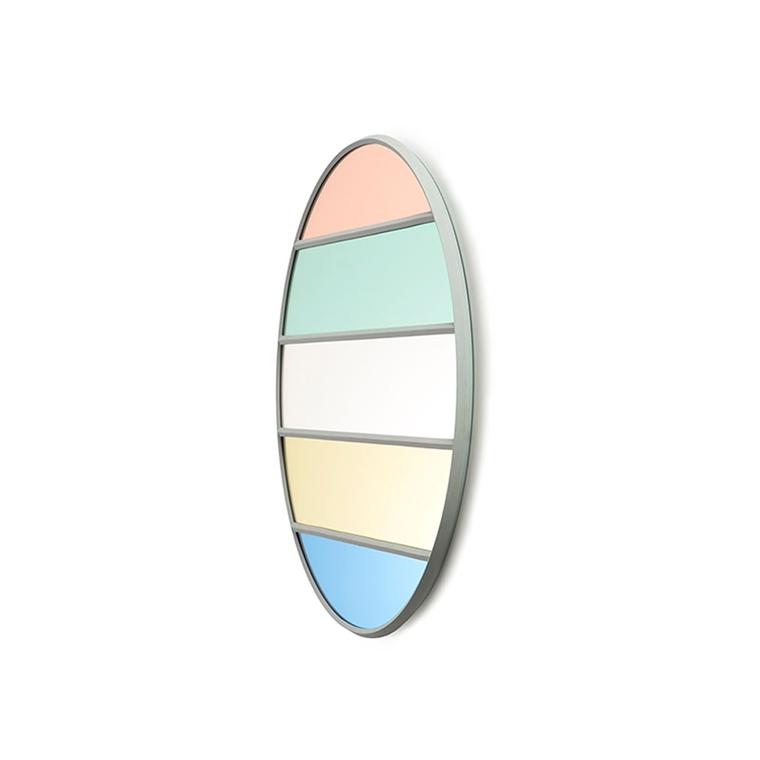Magis Wall Mirror Vitrail 8, spejl i pastel/klar striber - Ø50 cm