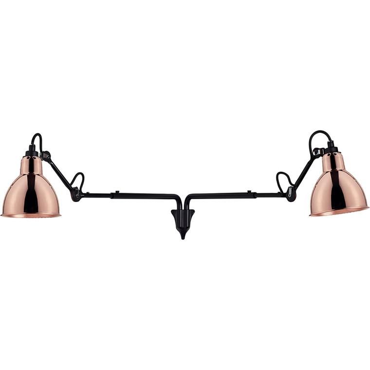 Lampe Gras N°203 double væglampe, sort/kobber