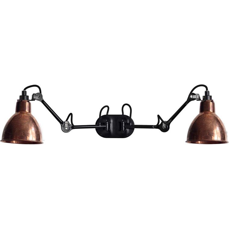 Lampe Gras N°204 double væglampe, sort/kobber