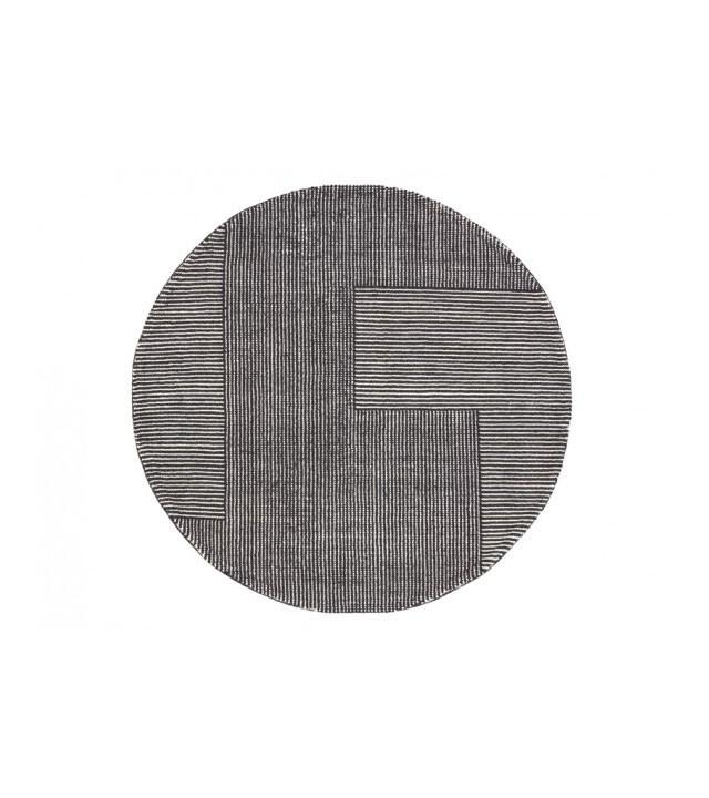 Tom Dixon Stripe Rug Round, gulvtæppe i sort/hvid