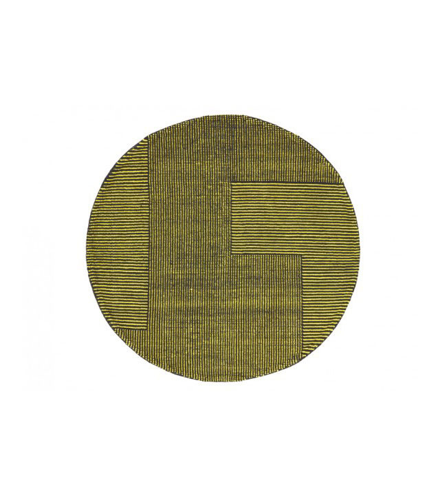 Tom Dixon Stripe Rug Round, gulvtæppe i gul/sort