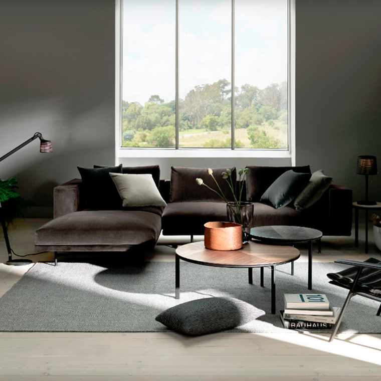 Vipp 610 Loft sofa 3 pers. chaiselong, Velour dark grey - udstillingsmodel