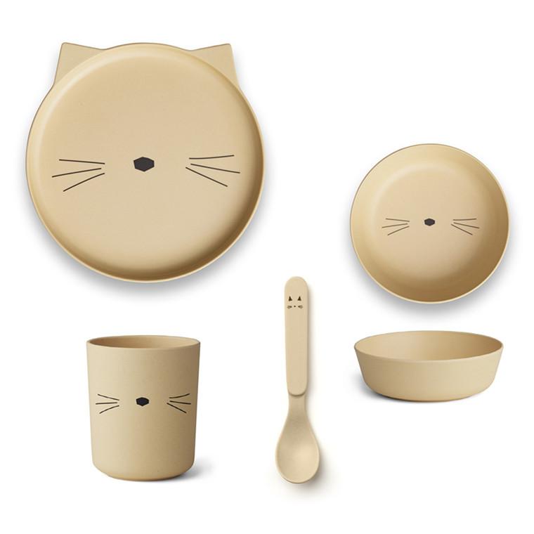 Liewood Bamboo Spisestel Cat, smoothie yellow