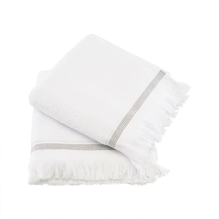 Meraki gæstehåndklæde m/ grå striber, 2 stk. - 50x100