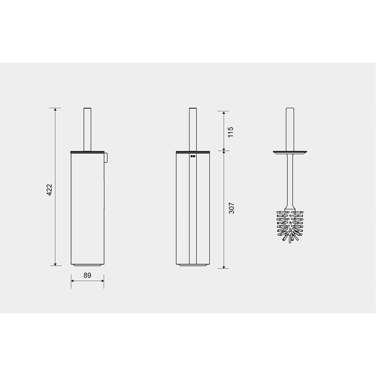 Unidrain Reframe toiletbørste t/gulv, kobber