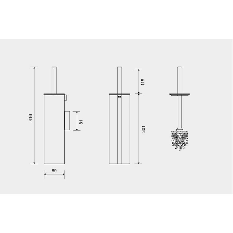Unidrain Reframe toiletbørste t/ophæng, blankt stål