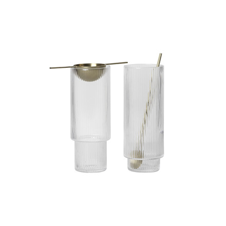Ferm Living Ripple Long Drink glas, 4 Stk.