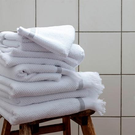 Meraki håndklæde m/ grå striber, 2 stk. - 40x60