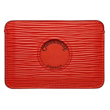 Czech&Speake Single Cut Out Card Holder in red leather