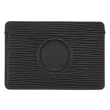 Czech&Speake Single Cut Out Card Holder in black leather