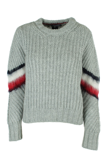 TOMMY HILFIGER AMALIE CABLE C-NK 20767 LYSEGRÅ