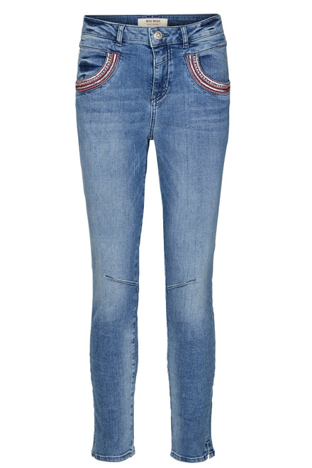 MOS MOSH NAOMI FLAMINGO 7/8 SPLIT 122930 BLÅ DENIM