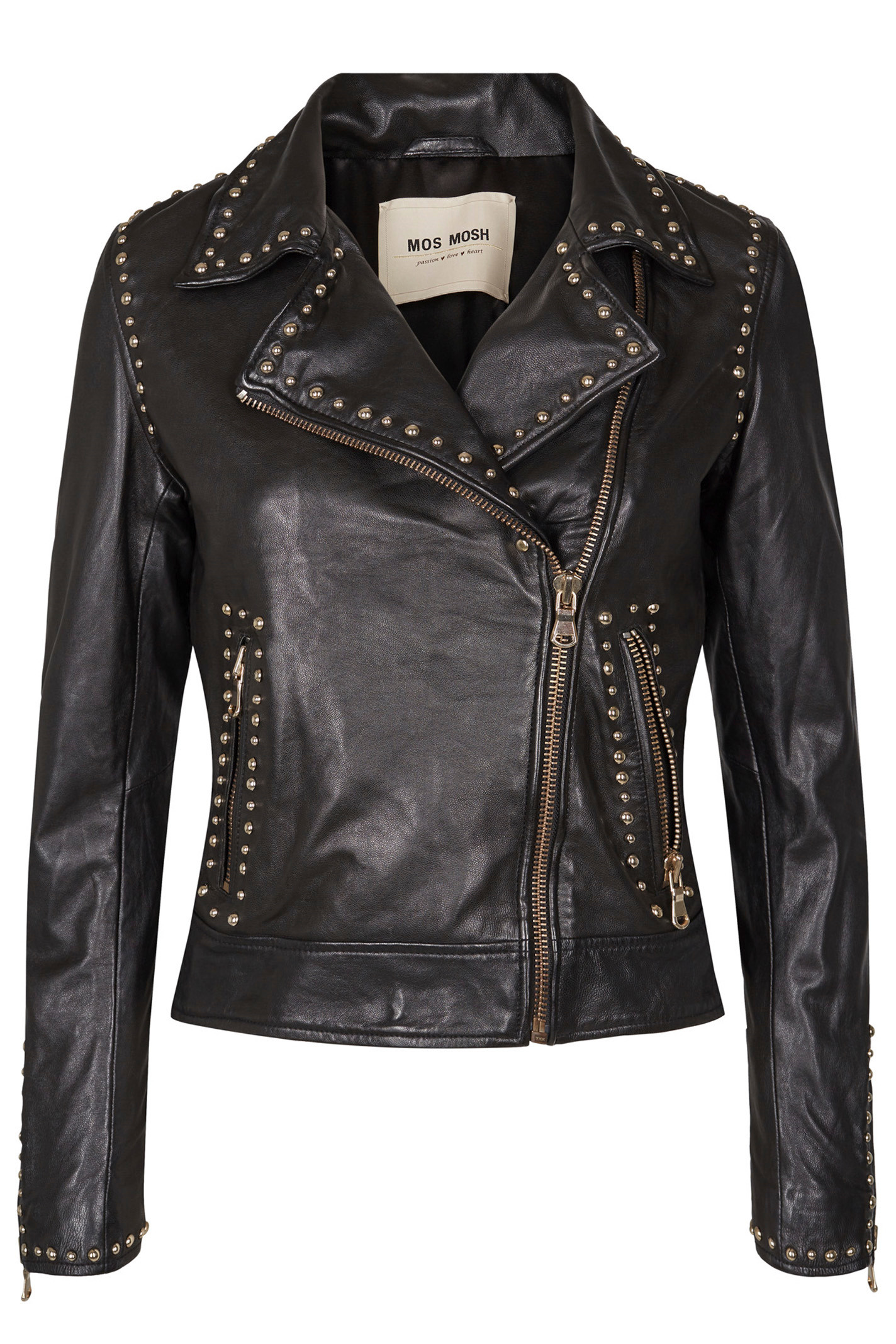 MOS MOSH REBEL LEATHER JACKET 126410 SORT