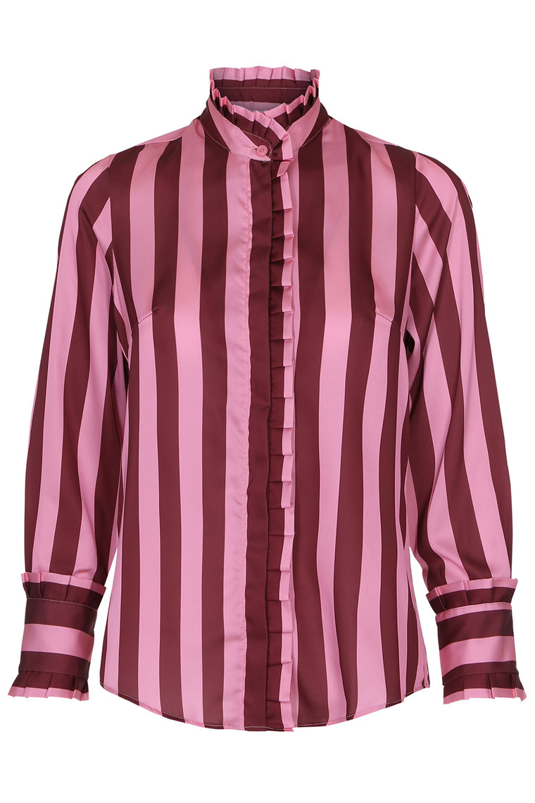 KARMAMIA BURGUNDY STRIPE RUFFLE SHIRT STRIBET