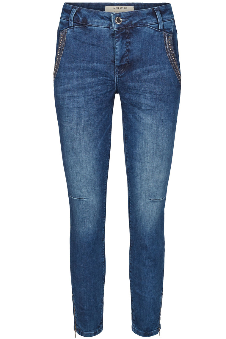 MOS MOSH ETTA SHINE ZIP 7/8 121720 BLÅ DENIM