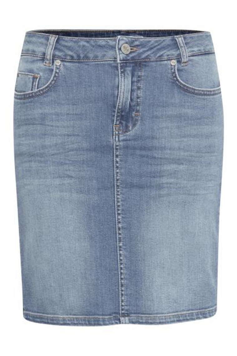 DENIM HUNTER 10702764 THE DENIM SKIRT Light Blue Wash