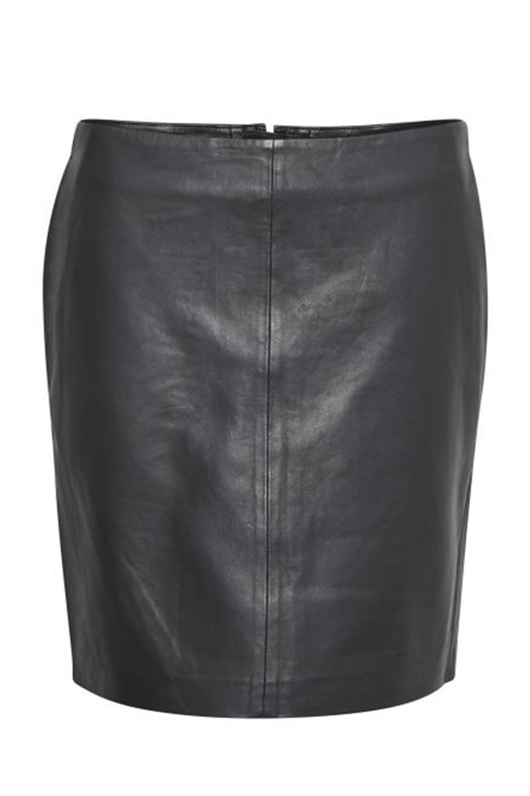 DENIM HUNTER 10702837 THE LEATHER SKIRT Black
