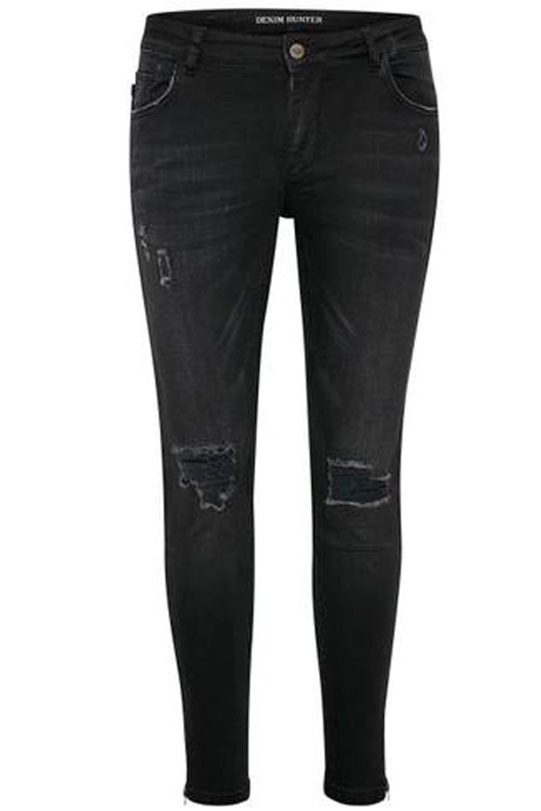 DENIM HUNTER Celina Zip Torn 10701894 Black Washed slim