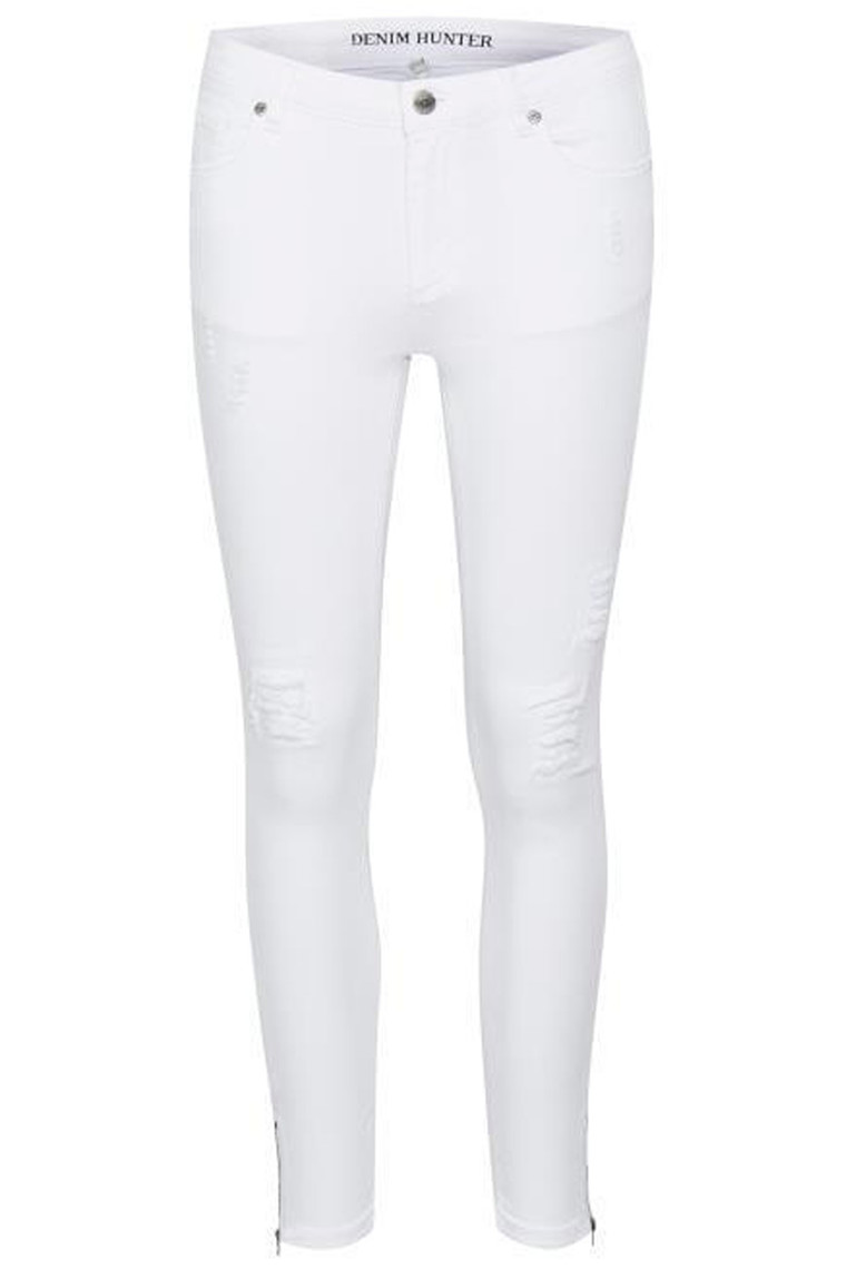 DENIM HUNTER Celina Zip torn 10701894 Optical White slim